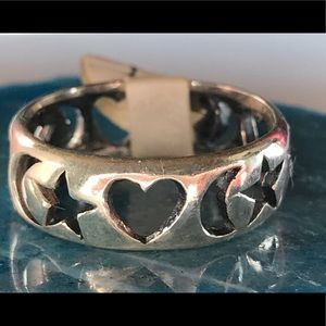 Sterling Silver Band With Hearts, Stars And Moon
